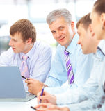 Happy business team talking Stock Photos