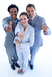 Happy business team with thumbs up. High angle of happy business team with thumbs up Stock Photos