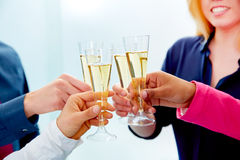 Happy business team toasting with champagne Royalty Free Stock Photography