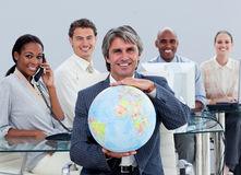 Happy business team at work Stock Image