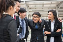 Happy business teamwork cheer up in city Stock Image