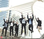 Happy business teamwork group jump up. concept celebration. Success for work Royalty Free Stock Photos