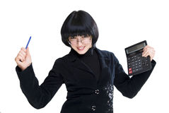 Happy business woman. With pen and calculator Stock Image