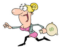 Happy business woman. Happy blond woman running with a money bag Royalty Free Stock Photos