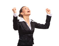 Happy business woman. Executive, female, gesture, hands Stock Image
