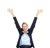 Happy business woman. Happy  business woman. Isolated over white background Royalty Free Stock Photos