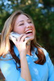 Happy Business Woman. On the telephone Royalty Free Stock Photos