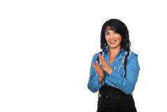 Happy business woman applauding. Beautiful happy business woman applauding and laughing isolated on white background,copy space for text message in left part of Royalty Free Stock Photo