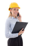Happy business woman architect in builder helmet talking by phon Stock Images