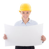 Happy business woman architect in yellow builder helmet holding. Building plan isolated on white background Stock Photos