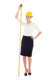 Happy business woman architect in yellow builder helmet  with me Royalty Free Stock Image