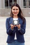 Happy Business woman with award Stock Photo