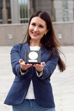 Happy Business woman with award Royalty Free Stock Photos