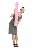 Happy business woman with big arrow pointing up Stock Photography