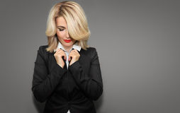 Happy Business woman in black jacket and red lips. Stock Images