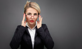 Happy Business woman in black jacket and red lips. Stock Photography
