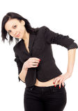 Happy business woman in a black suit Royalty Free Stock Photos