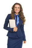 Happy business woman with book Royalty Free Stock Photo