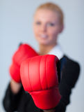 Happy Business woman with Boxing Gloves Royalty Free Stock Photography