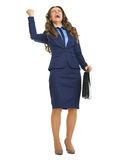 Happy business woman with briefcase rejoicing success Royalty Free Stock Images