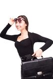 Happy business woman with briefcase Stock Photo