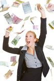 Happy business woman catching many euro bills Stock Photos