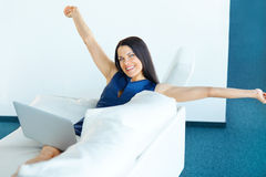 Happy Business Woman Celebrates Successful Deal at her Office. B Stock Photo