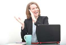 Happy business woman clapping while celebrating sucess Royalty Free Stock Images