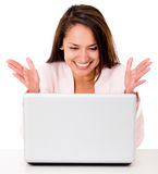 Happy business woman with a computer Royalty Free Stock Photography
