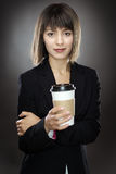 Happy business woman with cup Stock Photography