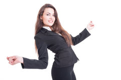 Happy business woman dancing excited and enthusiastic Stock Photo