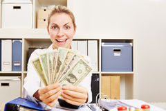 Happy business woman with Dollar money Royalty Free Stock Photos