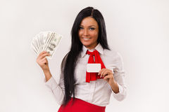 Happy business woman with dollars and bank card Stock Photos