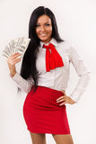 Happy business woman with dollars Stock Photography