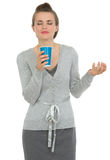 Happy business woman enjoying odor of coffee Royalty Free Stock Photo