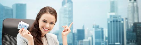 Happy business woman with euro cash money Stock Photography