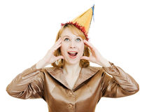 Happy business woman in a festive hat Stock Image