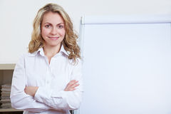 Happy business woman with flipchart Stock Images