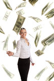 Happy business woman in flying lots of money Royalty Free Stock Photos