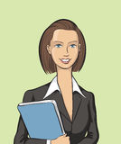 Happy business woman with folder. Vector illustration of Happy business woman with folder. Easy-edit layered vector EPS10 file scalable to any size without Stock Images