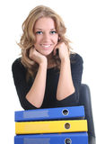 Happy business woman with folders Royalty Free Stock Photo