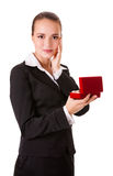 Happy business woman with a gift Stock Photo