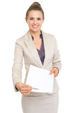 Happy business woman giving document for sign Stock Image
