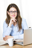 Happy Business Woman With Glasses Royalty Free Stock Image