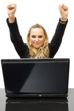 Happy business woman with hands up in office Royalty Free Stock Photography