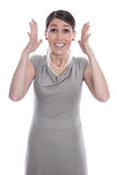 Happy business woman hands up - successful job Royalty Free Stock Photo