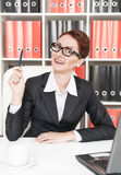 Happy business woman have the idea Stock Photo