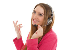 Happy business woman with headset. Royalty Free Stock Photography