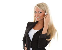 Happy business woman with headset. Royalty Free Stock Photos