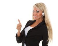 Happy business woman with headset. Stock Photo